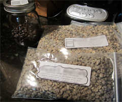 Green coffee beans &amp; the finished product!