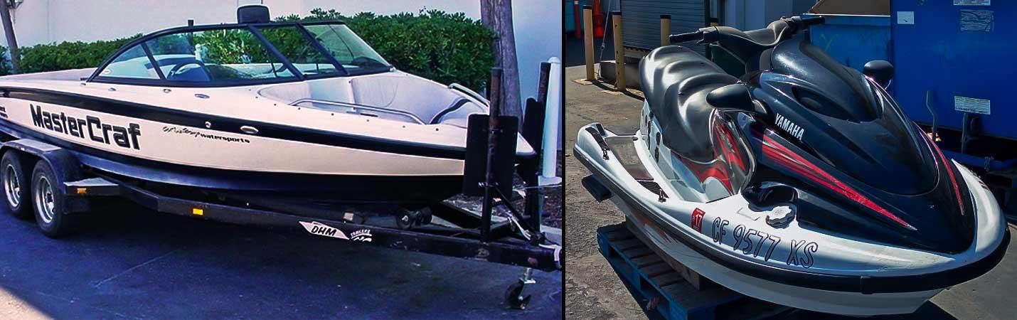 motor boat and jet ski